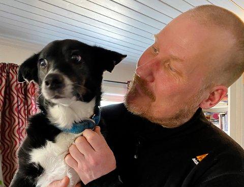 """SHANTY OG RONNY: Hund og eier. Shanty er en tøff 12-åring, som nå kan bli kåret til """"Norges tøffeste hund""""."""