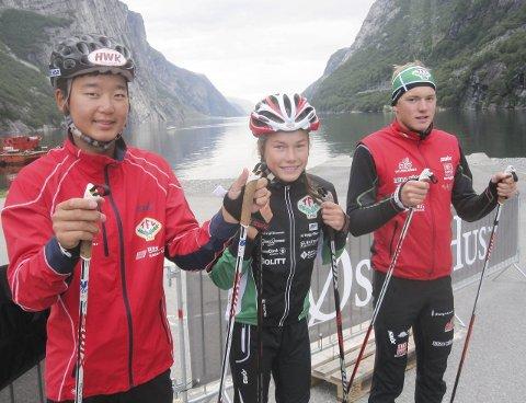 Gode bakkeløp: Petter Stokkeland (tv), Martine Svendsby og Marius Svendsby leverte alle sterke prestasjoner i Lysebotn Opp på rulleski.Foto: Privat