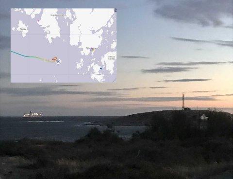 Color Viking er på Asmaløy, og trackingsporene på innfeltbildet viser hvordan skipet kjørte frem og tilbake utenfor Hvaler.