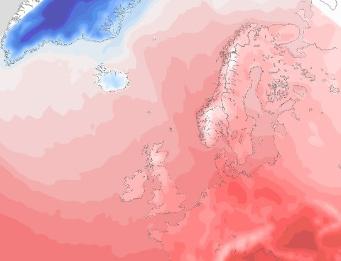 VARM FRONT: Den varme luften kommer fra Sør-Europa og vil ta med seg varme temperaturer til Nord-Norge ved inngangen av neste uke.