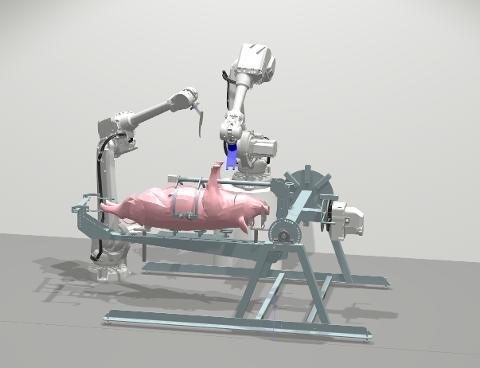 Slik kan roboten se ut om noen år når den er ferdig utviklet. Den skal kunne erstatte mye av arbeidet som i dag må gjøres manuelt av slakteriene.
