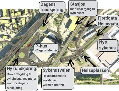 ATKOMST: Slik er veiløsningen fra vest tenkt. Dette blir hoved-atkomst til det nye sykehuset. Foto: Rambøll/Torun Havnaas