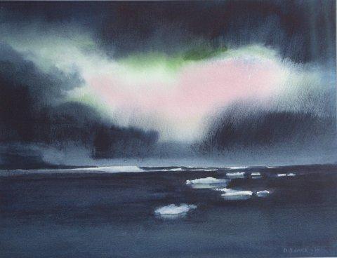 Natur: Dagfinn Bakke formidler natur – både den barske og det milde, gjestfrie, hvor sinnet blir ledet inn i et harmonisk rom. Her er en av de nye akvarellene som er utstillingsklar 3. mars på Galleri Krane i Tromsø. Den heter Arktisk Aurora.