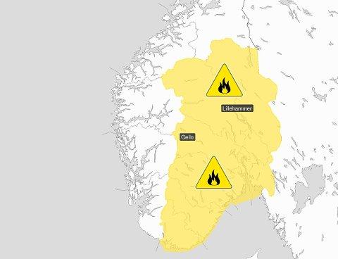 STORE OMRÅDER: Kartet viser hvilken del av landet man må være ekstra obs på skogbrannfaren akkurat nå.