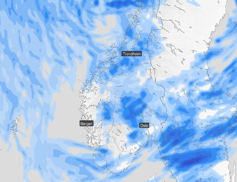 Dette kartet viser vêret som bevega seg innover Vestlandet onsdag.