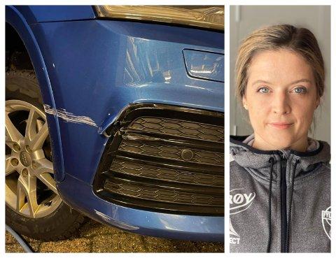 SKRAPA: Då ho skulle skifte dekk, oppdaga Maria farsund bilen slik. Ho trur ein uheldig ryggar har vore på ferde laurdag.