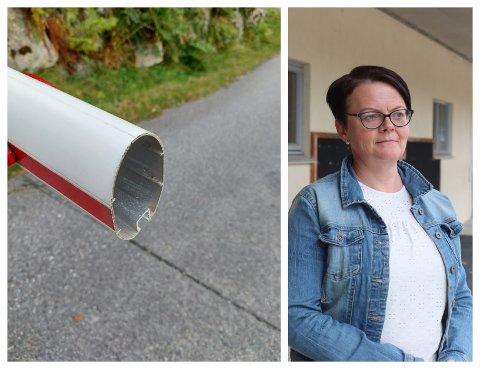 RETT AV: Slik såg bommen ut då Gunvor Beate Bjordal Solvik kom gåande forbi tidlegare denne veka.