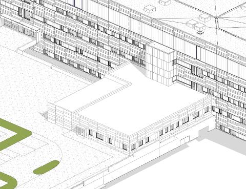 Utvidelsen vil skje i form av et tilbygg som med tiden skal kunne utvides til å være fire etasjer høyt. Foto: Arkitema