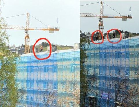 UTEN SELER: Arbeiderne som jobber på taket på KOBBL-bygget jobber tilsynelatende uten seler.