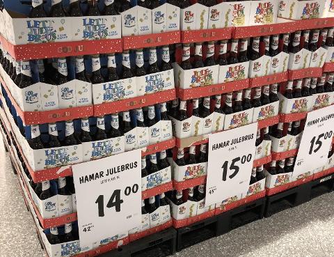På Kiwi Vingnes markedsfører de Hamar julebrus.