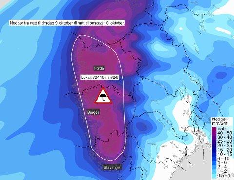 FAREVARSEL: Tirsdag blir det mye nedbør på Vestlandet, og det er sendt ut gult farevarsel enkelte steder.