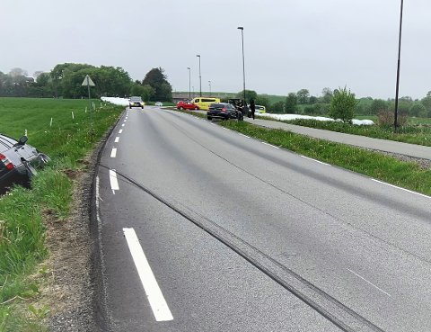 Trafikkuhellet skjedde på Hognestadvegen mellom Bryne og Hognestad fredag morgen.