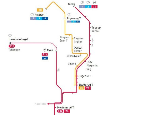 BUSS FOR BANE: Kartet viser hvordan du kan reise mens linje 3 er stengt mellom Mortensrud og Brynseng. Skisse: Ruter