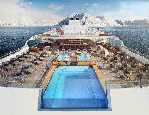 Her er en av illustrasjonene til de nye skipene. Foto: Hurtigruten