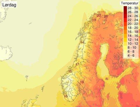 VARME I NORD: Helgeprognosene for Finnmark ser svært lovende ut. (Meteorologisk institutt)