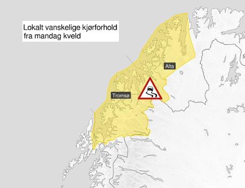 ADVARER BILISTER: Mandag kveld kan det bli hvitt og glatt på fjellovergangene i Troms. Illustrasjon: Met.no