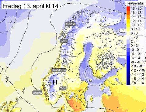 Vi meteorologer håper at denne prognosen for neste fredag slår til! Det er fortsatt håp om en varmere kommende uke i #Norge, til tross for en noe grå helg rundt om i landet, melder Meteorologisk institutt på twitter.
