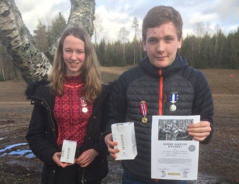 Vant: Leon Fosser (14) og Kine Saksæther Andersen (15) tok henholdsvis 1. og 2. plass i eldre rekrutt.