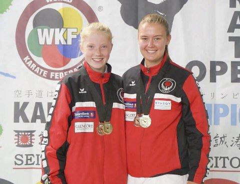 Fire medaljer: Alva Alexandra Sjursen og Kerstin Regine Michalsen tok hvert sitt gull og hver sin bronse i Finnish Open. Foto: Privat