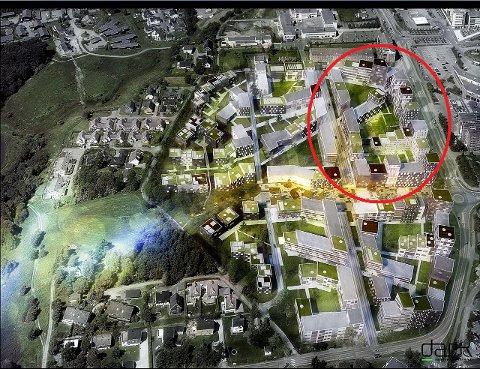 HAGELAND-TOMTA: Det er lagt opp til 400 boliger på tomta der Hageland holder til i dag. Ill.: Dark Arkitekter