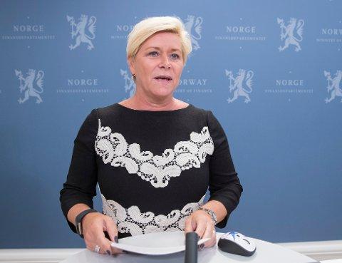 RENTEFRYKT: Finansminister Siv Jensen.