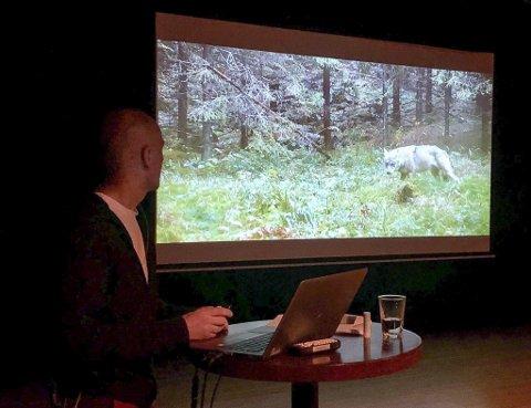 André Holm forteller om sine møter med østmarkaulven i 2019 i en fullsatt sal i Lillestrøm kultursenter. Foto: Rune Fjellvang