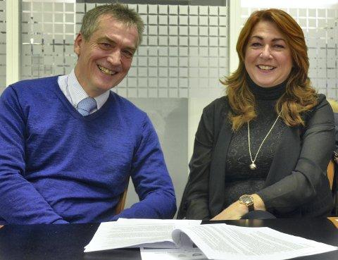 STARTET: Jan Syrstad (H) og Elisabeth Holter-Schøyen (V) startet arbeidet med klimaplan for Røyken.