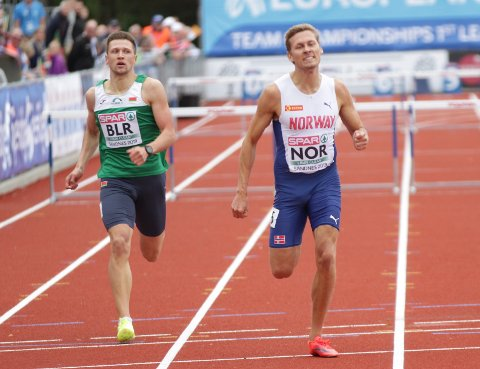 KJEMPET: Joachim Sandberg tok ut alt på oppløpet og sørget for norsk finaleplass.