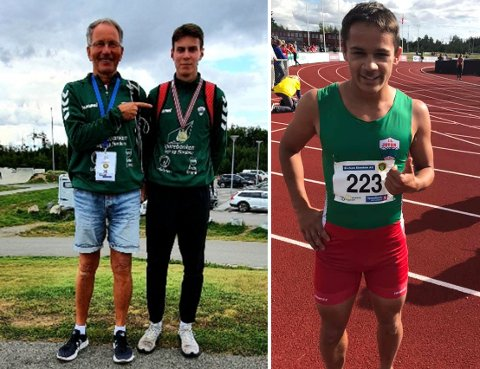 GODE PRESTASJONAR: IL Jotun har to utøvarar som hevdar seg i landstoppen i friidrett. August da Silva Sveen gjer det godt på mellomdistanseløp, medan Knut Werge-Olsen gjer det godt i kortare løp. Trenar Rolf Breisnes er godt nøgd med innsatsen.