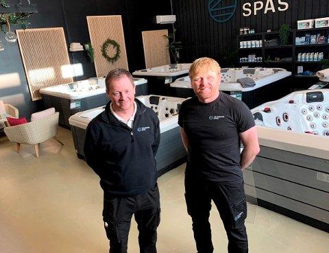 ETTERSPURTE: Jostein Gundersen og Ole Jakob Eriksrød startet opp Telemark Spas i begynnelsen  av 2020. De er svært godt fornøyd etterspørselen så langt.