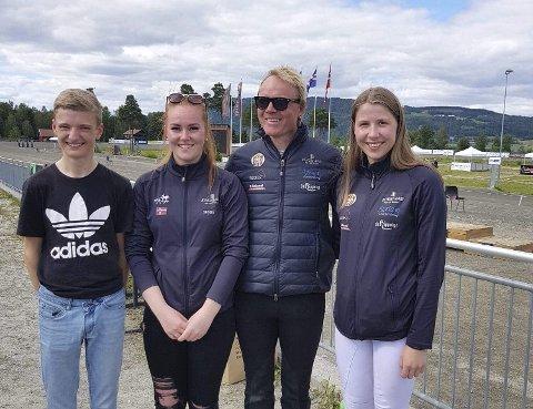 Firkløver: Ørjan Lien Våge (fra venstre), Ingrid Sofie Krogsæter, Stian Pedersen og reserve Lina Bjerke Meisingset, fra Vestnes Islandshestforening, er tatt ut til å representere Norge i VM i Berlin neste måned.