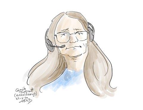 VITNET: Helsesykepleier Anne Fodstad vitnet for retten torsdag. Tegning: Herb