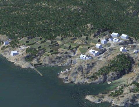 Svabukta: De hvite klossene er eksisterende bebyggelse, de mørke tilhører Vidar Runess sitt prosjekt. Bølgebryteren, båtnaustene og småbåtanlegget er til venstre, midt i bildet.