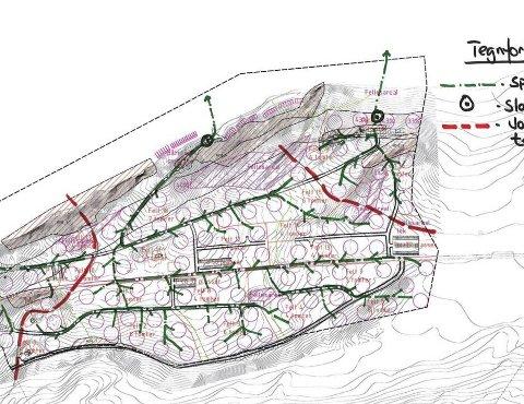 Planer: Slik var den opprinnelige planen for hytte-området på Kvalnes før planene i sin tid ble stoppet. Foto: Bodø Kommune