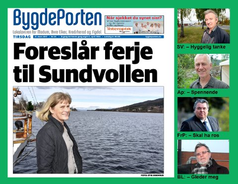 MEST SKRYT: Ingunn D. Øderud (faksimile) før mest skryt for sitt forslag om en hydrogenferje på Tyrifjorden. Gotfred Rygh (øverst), Ståle Versland, Morten Wold og Ole Martin Kristiansen jubler mest, men innvendingene er ikke langt unna.