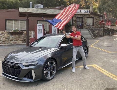"""Audi skal for første gang lansere sin vertstingmodell RS6 i USA: Det er noe av forklaringen på at vi """"måtte"""" dit for å teste den. Redaksjonssjef Vegard Møller Johnsen hadde ikke noe imot å ta turen ..."""