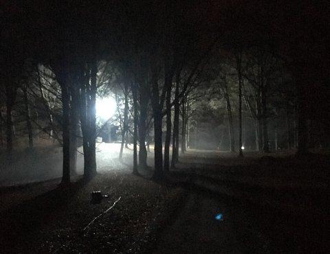 LYS: Slik så det ut i Rødsparken fredag kveld.