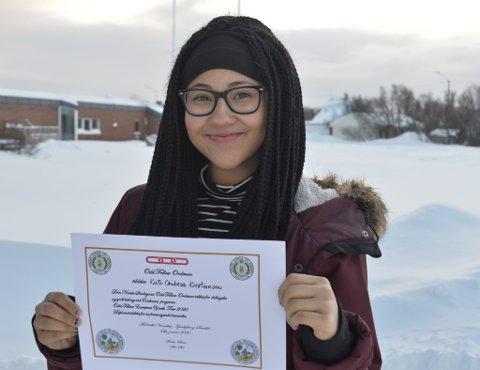 GLAD VINNER: Kate Chibesa Kristiansen (16) er en av ti som får reise til USA i sommer.