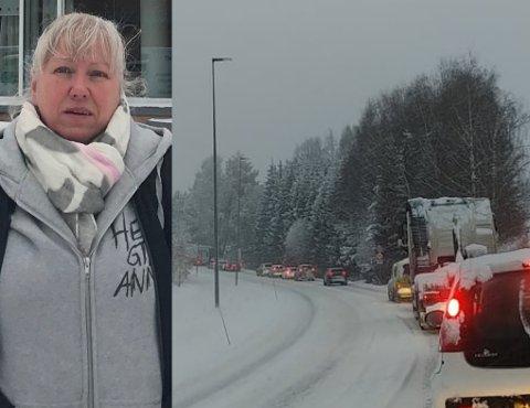 Lange køer: Bente Vålbekk og datteren brukte tre timer fra Hemnes til Oslo mandag morgen.