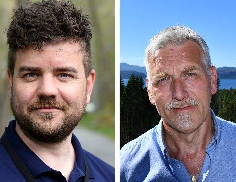 Kvinnherad-ordførar Hans Inge Myrvold (t.v.) og Håkon Røstbø i pådrivargruppa for Sunnfast. (Arkivbilde).