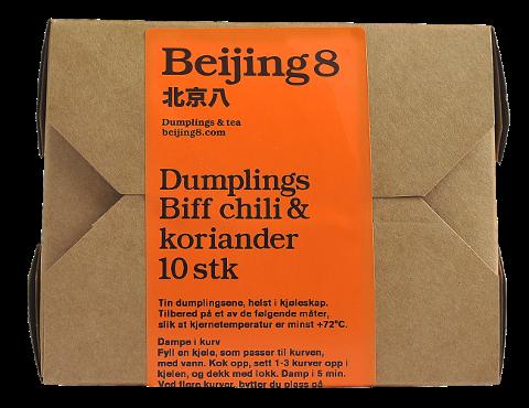 TREKKES TILBAKE: Oluf Lorentzen trekker produktet «Beijing 8 dumplings biff chili & koriander» med best før-dato 24.02.209 tilbake fra markedet på grunn av feilmerking.