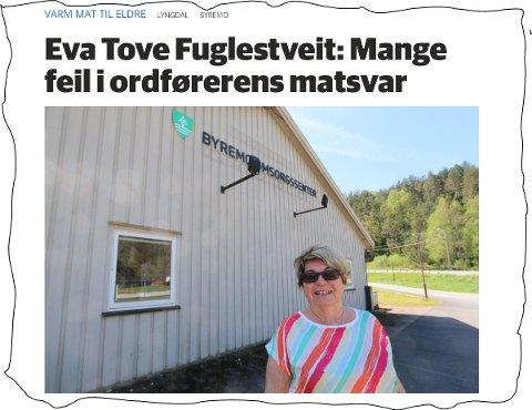 FAKSIMILE: Oppslaget om saken i Lyngdals Avis torsdag 3. juni.