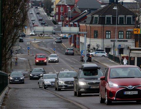 SVEVESTØV: Målingene viste rødt nivå på svevestøvet i Moss sentrum tirsdag.