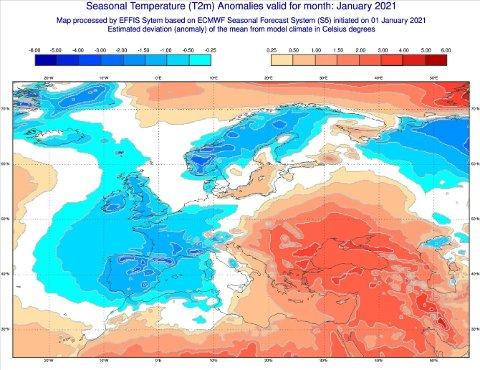JANUAR: Slik er prognosene for måneden. De blå feltene tilsier at det blir kaldere enn normalt. De røde feltene tilsier høyere temperaturer enn normalt. Hvite felt er temperatur som ligger opptil gjennomsnittet de siste årene.