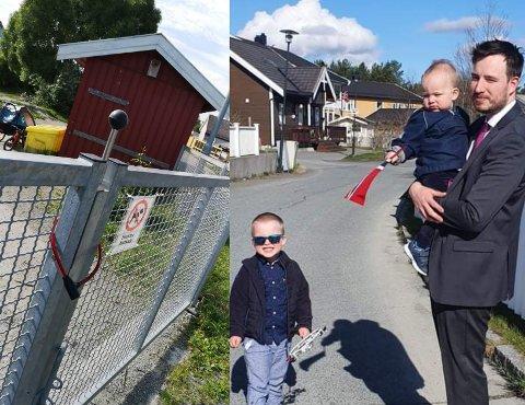 BLE FORUNDRET: Hans Magnus Gulliksens eldste sønn skjønte lite da faren måtte løfte ham over porten.