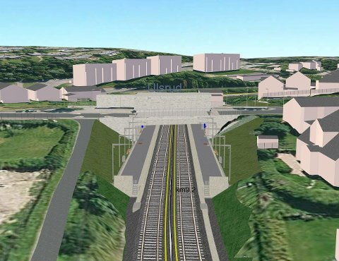ULSRUD: Skisse over hvordan Ulsrud stasjon blir. Se skisse over alle de nye stasjonene på sporveien.com. Skisse: Sporveien