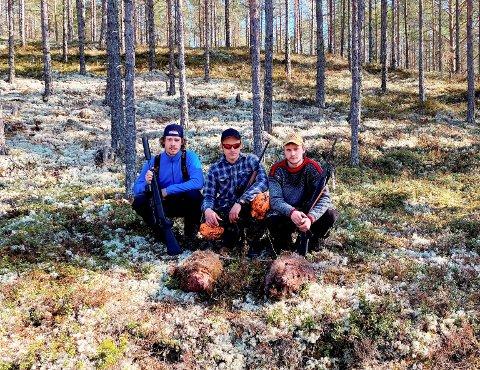 Jakt- og friluftskamerater: fv. Asbjørn Øien, Emil Rugsveen og Mattias Steine