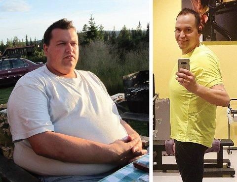 Stor forvandling: Stian Teige fra Moelv veide 168 kilo i 2013. Så starter han en tøff kamp mot overvekten. I dag veier han 98 kilo. - Jeg har fått et nytt liv, sier han.