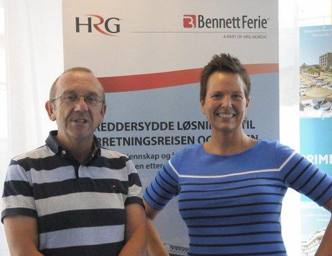 Tyrkia-Stopp: Per Stenberg og Tove Irene Kristensen i HRG reisebyrå i Hønefoss merker at nordmenn ikke vil reise til Tyrkia