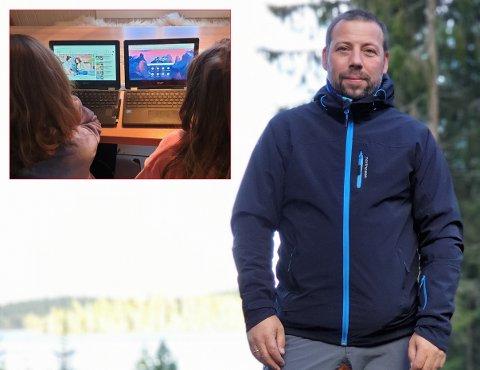 SA FRA: Knut Arne Breibrenna (t.h) varslet om at hans datters Chromebook var brukt til å søke etter upassende bilder på Internett i skoletiden allerede i juni. (Innfelt illustrasjonsfoto)